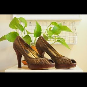 Olive Green Leather Pumps